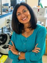 A picture of Dr. Elba Serrano, standing with arms crossed.